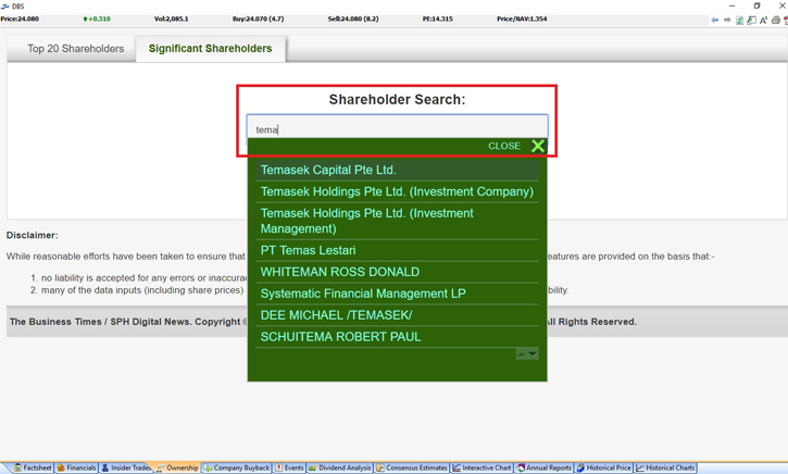 Shareholder Search