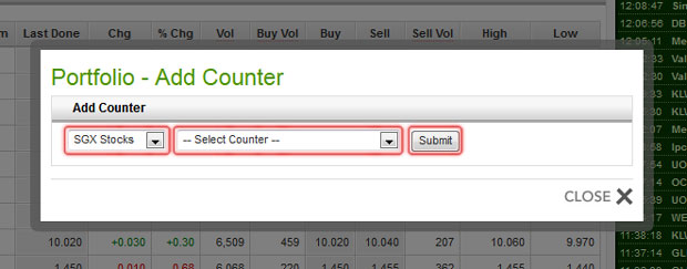 Add Counter to Portfolio - Select counter