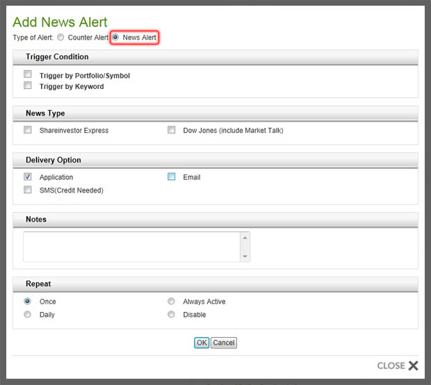 Add Portfolio Alerts - Select News Alert