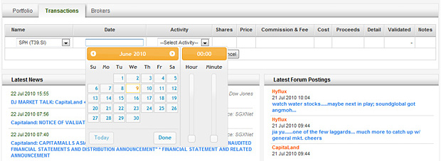 Portfolio Transaction - Enter date and time of transaction