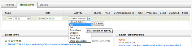 Portfolio Transaction - Select the activity