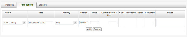 Portfolio Transaction - Enter number of shares