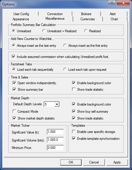 Options Settings - Miscellaneous Setting